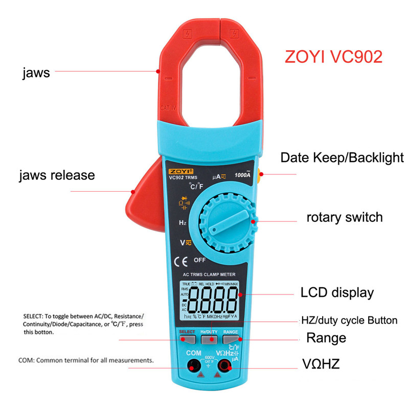 ZOYI Clamp meter VC902 ac dc current clamp meter 6000 counts True RMS clamp multimeter Large LCD backlight digital current clamp zipabox power current clamp 35a