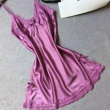 Ladies sexy silk satin nightgown sleeveless Lace nightwear nightdress Sleepwear Sleeping Dress Summer V-neck nightwear for women