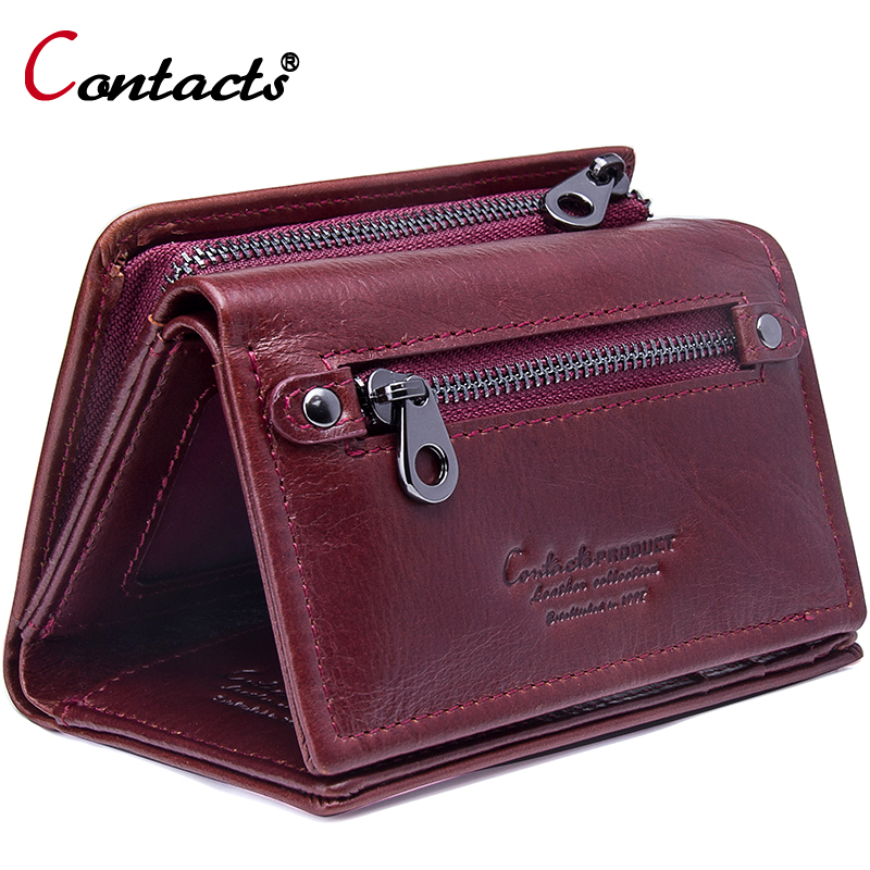 Contact's Women Wallet Genuine Leather 2018 Female Coin Purse Trifold Zipper Cash Photo Card Holder Wallet For Women Card Wallet women wallet female purse women leather wallet long trifold coin purse card holder money clutch wristlet multifunction zipper