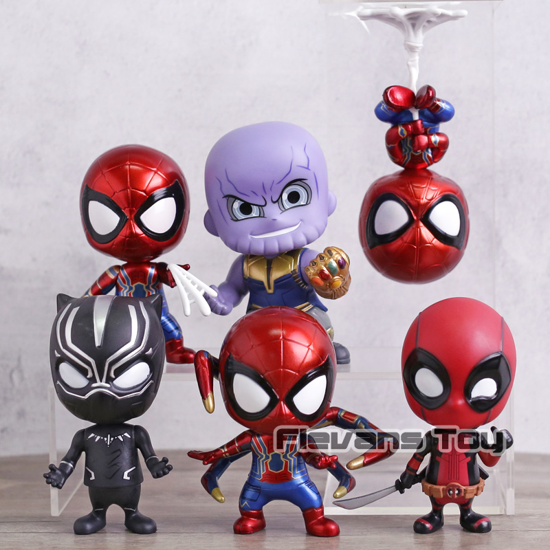 Avengers Infinity War Thanos Black Panther Spiderman Iron Spider Deadpool PVC Figures Toys Car Decoration Dolls Gift 6pcs/set