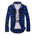 [Asian size, not US/EU size]Hot sell thin long-sleeved plaid shirt plaid shirt mens fashion male casual high quality shirt
