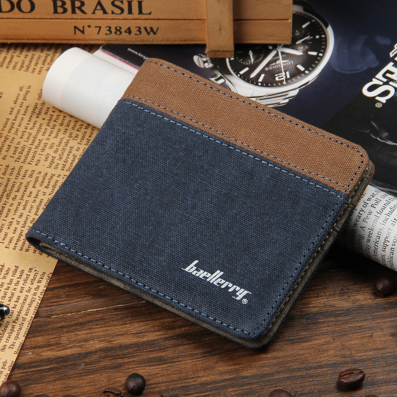 Hot Sale Light Soft High Quality Canvas Men Wallets Simple Design 2 Fold Multi Credit Card Holder Purse Wallet Free Shipping