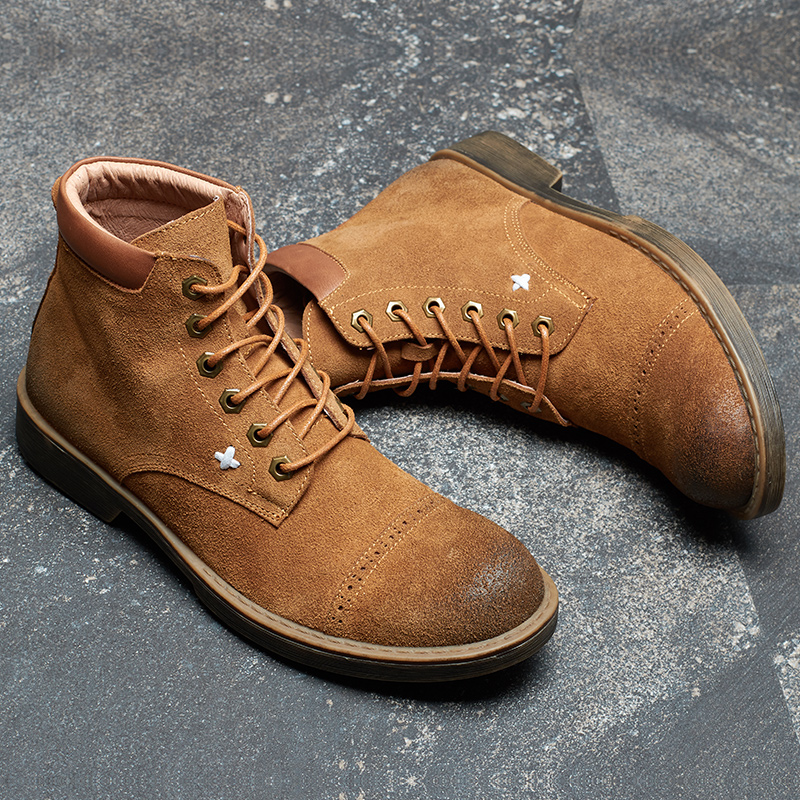 cowhide British Martin Boots Men Genuine Leather desert boots male autumn winter leisure high top shoes mens chelsea boots men