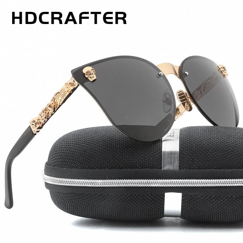 HDCRAFTER Fashion Women Gothic Eyewear Skull Frame Metal Sunglasses Cat eye Rimless Sun Glasses UV400