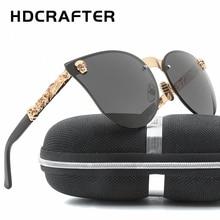 HDCRAFTER Fashion Women Gothic Eyewear Skull Frame Metal Sunglasses Cat eye Rimless Sun Glasses UV400 chic semi rimless frame cat eye sunglasses for women