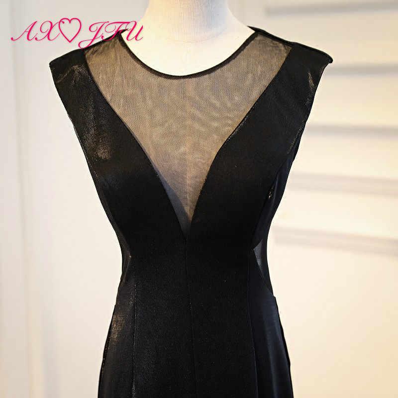 AXJFU принцесса с круглым вырезом Иллюзия черное атласное с юбкой-русалкой роскошное вечернее платье винтажное сексуальное на молнии Черное вечернее платье