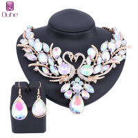 OUHE Trendy Gold Color AB Crystal Swan Bridal Jewelry Sets Italian For Women Girls Wedding Jewelry