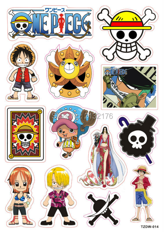 2Designs One Piece Monkey D Luffy Cartoons Doodle PVC Waterproof Car sticker Luggage Suitcases Guitar Skateboard laptop decals