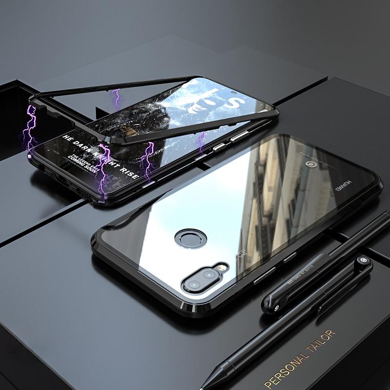 Magnetic Adorption Metal Bumper For Case Huawei Nova 3 Transparent Glass+Magnet Cover 3i Nova3i Nova3