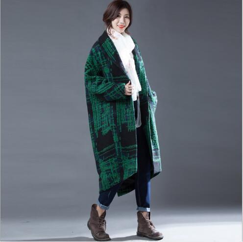 Homme Laine Style 2018 Dépouillé Manteaux Long Manteau Nouveau Femmes D'hiver Lâche Casual Veste Vert Cachemire Pardessus Mode De qgwOzBxf