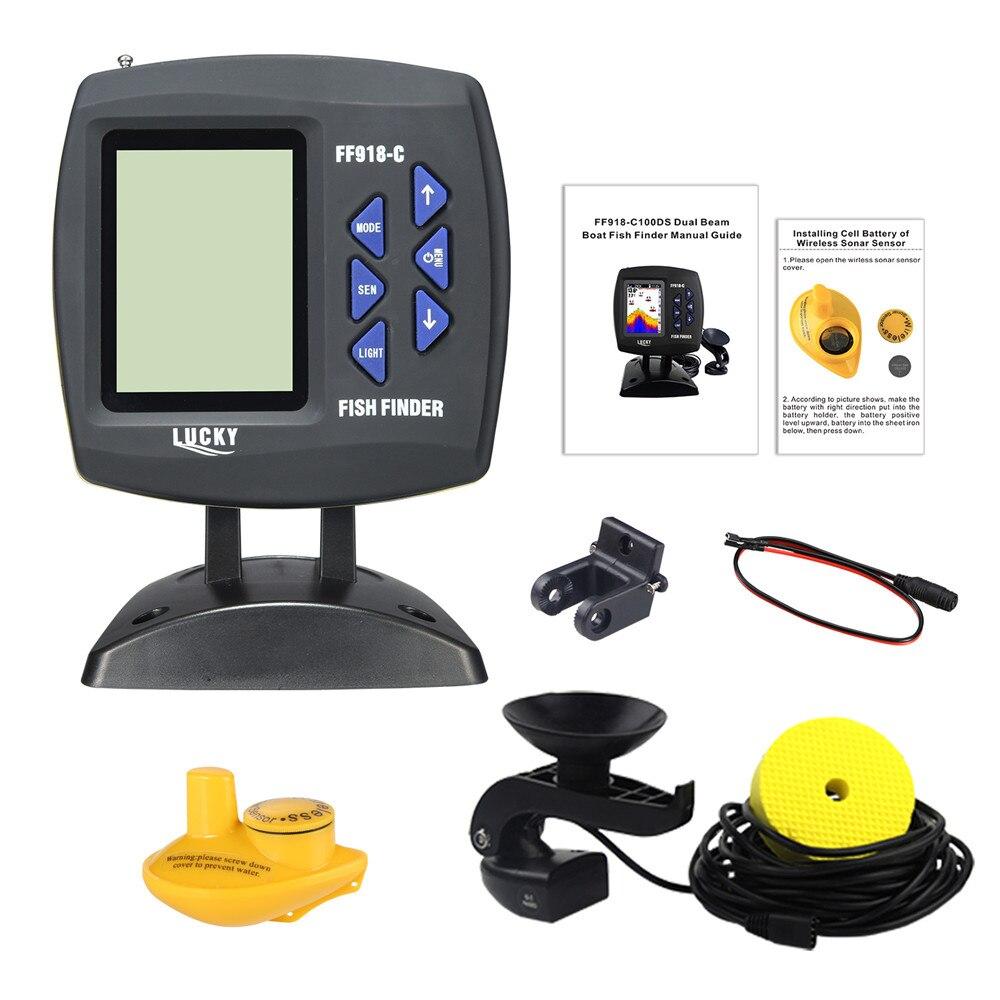 Russische menü! GLÜCK FF918-C100WDS Farbe Bildschirm Boot Fisch Finder Dual Frequenz Wired & Wireless wasser tiefe boot fisch finder