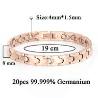 Hot Magnetic Full Rose Gold Plating Health Care Bracelet Full Germanium Bracelets For Women Stainless Steel