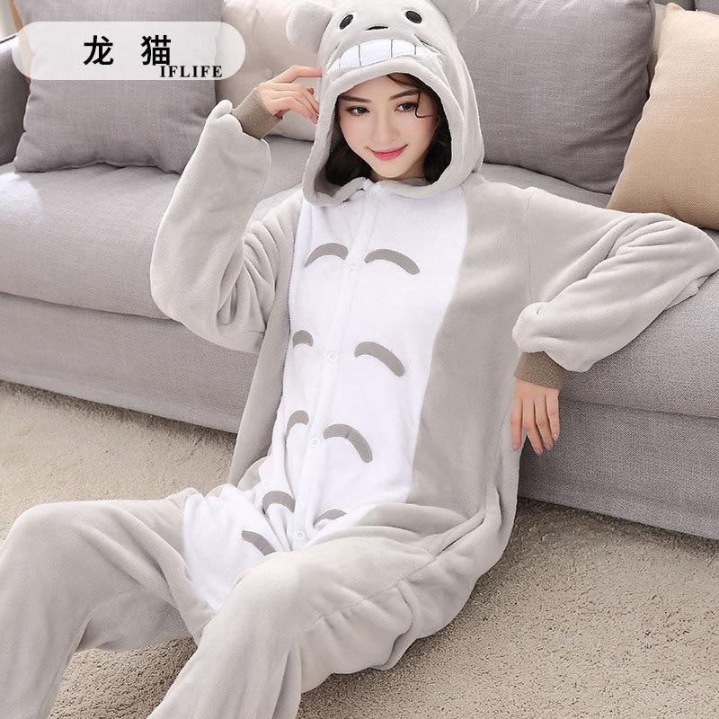 Adults Animal Kigurumi Totoro Pajamas Sets Sleepwear Cosplay Zipper Onesie Hooded Women Men Winter Unisex Cartoon Pajamas