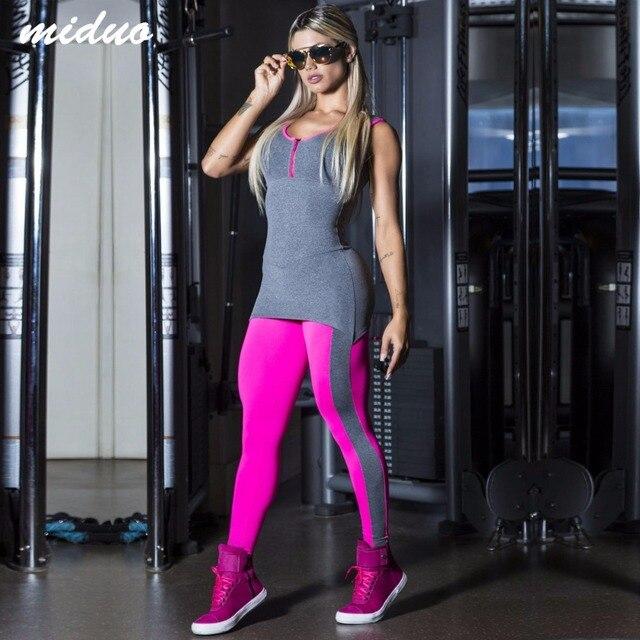 Новый Поддельные Из Двух Частей Женщин Йога Устанавливает Бег Fitness Gym Девушку Рукавов Костюм Комбинезоны Комбинезоны