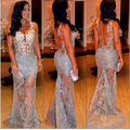 Mermaid Sleeveless See Through White Lace Very Light Blue Women Ladies Fashion Sexy Lined Lace Party Prom long Evening Dress