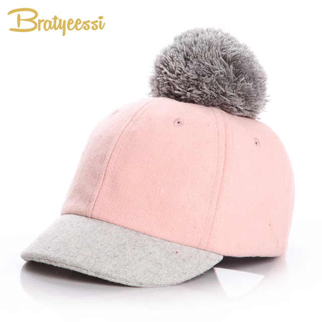 ea708ccbaf1 New Wool Kids Winter Hats for Girls Boy Cap Adjustable Baby Hat with Pompom  Warm Caps