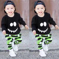 Toddler Newborn Baby Boys Girls Clothes Cartoon Ghost Tops Pullover Pants Halloween Outfits Set roupas infantis menina