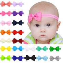 цена на 20pcs/lot kids Small Bow Tie Headband DIY Grosgrain Ribbon Bow Elastic Hair Bands Hair Accessorie