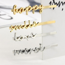 2pcs Fashion Women Metal Letter Hairpins Love Smile Happy Words Name Hair Clips Alloy Pins Gold Silver