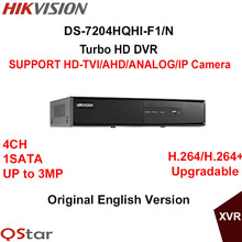 Hikvision Original English Version DS-7204HQHI-F1/N Turbo HD DVR SUPPORT HD-TVI/AHD/Analog/IP Camera UP to 3MP DHL Free Shipping