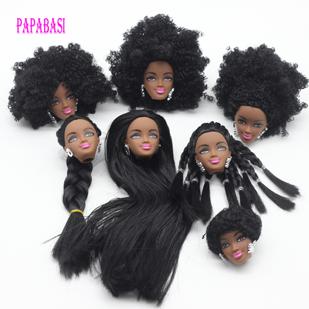 1Pcs Black Doll Hair Head For Barbie Dolls As For FR Dolls Black Explosion Hairstyle Best DIY Gift For Girls' Doll