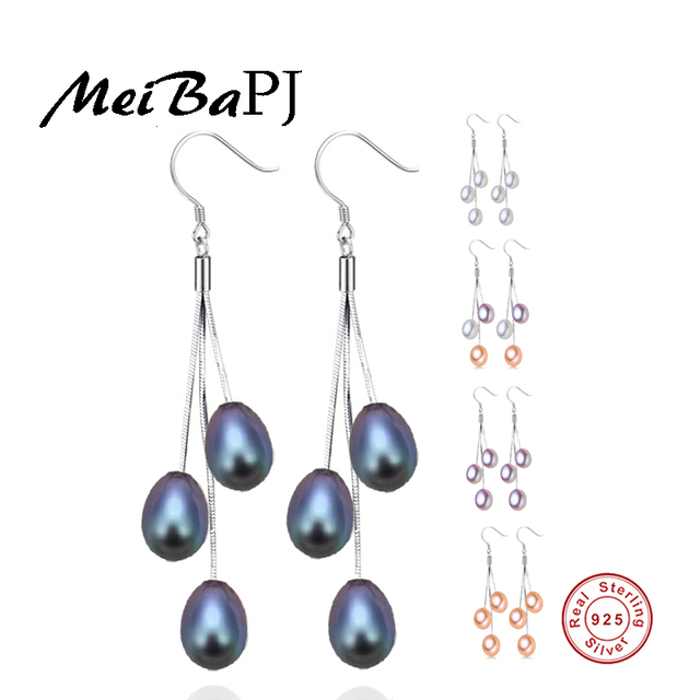 [MeiBaPJ]Water drop 925 sterling silver earrings for women high quality natural pearl jewelry 5 colors party earrings gift box