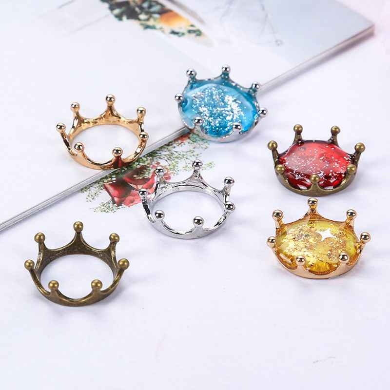 5Pcs Imperial Crown Open Back Bezels Setting Blanks Pendant Resin Jewelry Making Accessories
