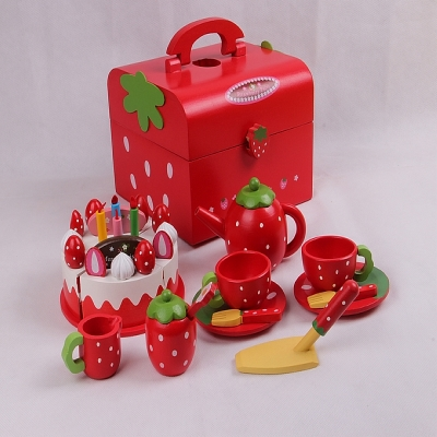 eco-friendly  red water  paint wooden  Afternoon tea chocolate cake  toy  set     children play house   wooden toys  gift mother garden high quality wood toy wind story green tea wooden kitchen toys set