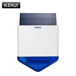 KERUI nuevo Flash inalámbrico estroboscópico al aire libre sirena a prueba de agua Alarma inalámbrica GSM sistema de Alarma de seguridad para el hogar carga de energía