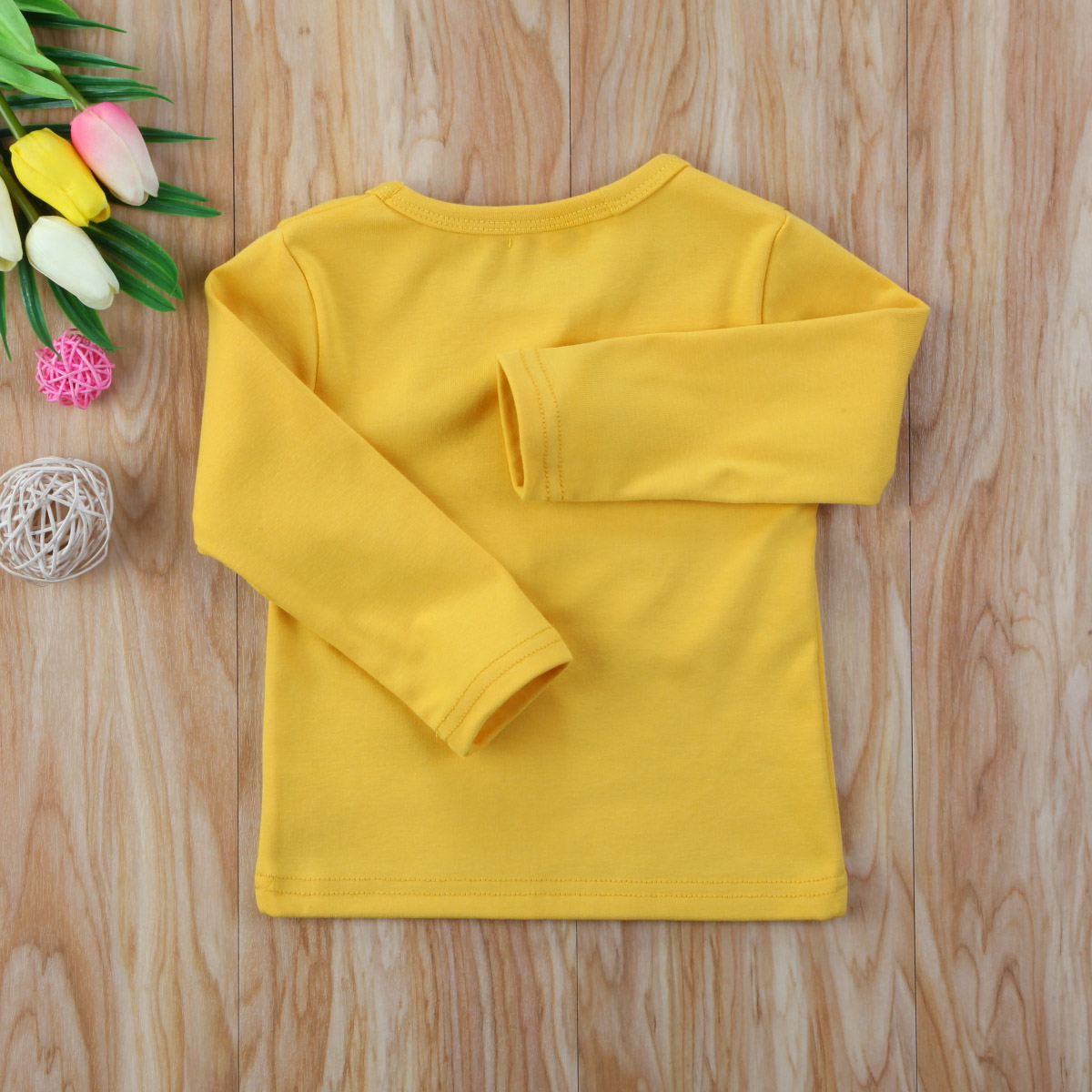 Autumn Cotton Newborn Infant Kids Baby Boys Girls Clothes Solid Cotton Soft Clothing Long Sleeves T-shirt Tops 12