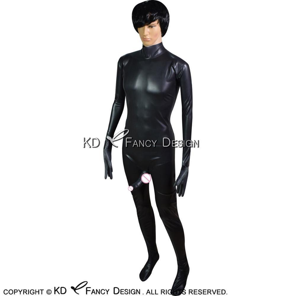 Пикантные черные латекс Catuit с ноги и перчатки пениса Оболочка Молния сзади резиновая боди целом Зентаи LTY 0142