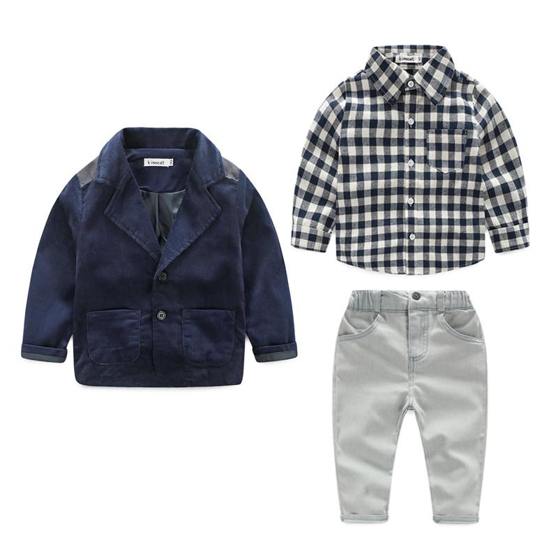 2015 new spring boys beautiful jeans wear clothes kids suits children boys jacket+plaid shirt +denim pants 3pcs Clothing Set