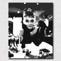 Grosso texturizado pintura a óleo de presente original Audrey Hepburn pop art para quarto decoração da parede