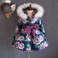 2016 new winter sweet girl scout cotton flower waist thick fox fur hooded cotton padded jacket