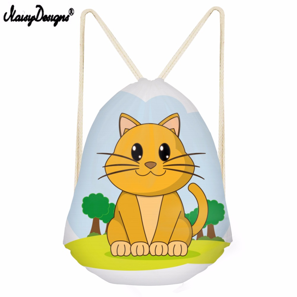 Noisydesigns Drawstring Bag 3D Cat Printed String Sack Beach Women Travel Storage Package Teenagers Backpack Kawaii Girl Travel