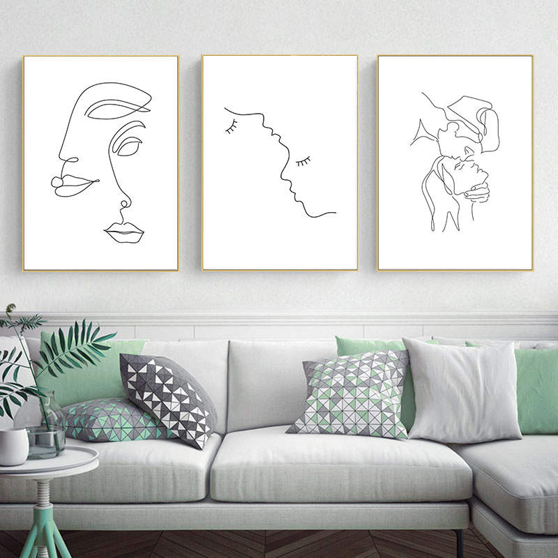 Abstract Lady Line Drawing Picture Home Decor Nordic Canvas Painting Wall Art Figure Body Hand Posters and Print for Living Room 3