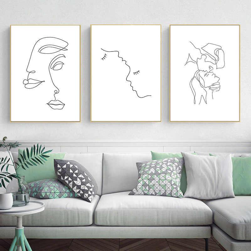Astratta Della Signora Linea di Disegno Immagine Complementi Arredo Casa Nordic della Tela di Canapa Pittura di Arte Della Parete Figura Del Corpo A Mano Poster e Stampa per Soggiorno