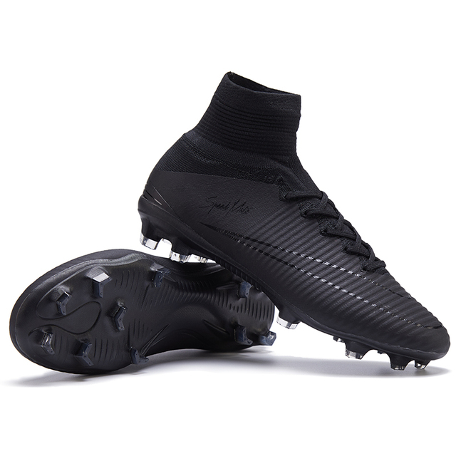 77fdbdb9e67e sufei Men Football Boots Original FG Superfly High Ankle V Turf Kids Soccer  Shoes Blackout Race Outdoor Training Sock Cleats