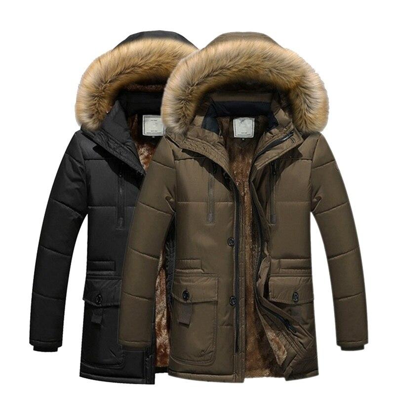 maomaoleyenda 2017 Long Winter Men Jacket With Velvet Warm Men's Parkas Korean Style Slim Fit Stand Collar Zipper Outerwear