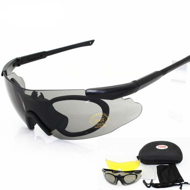 48d34027e7e 2018 Men Sunglasses Military 3 Lens Safety Glasses Tactical Army Goggles  TR90 Frame Outdoor Hunting Combat Wargame Motorcycle