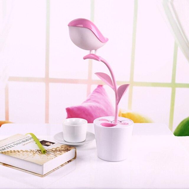 3 Level Brightness Eye Protect Light Cute Bird Sapling Pen Holder Led Reading Desk Light Touch-sensitive Switch LED Book Light