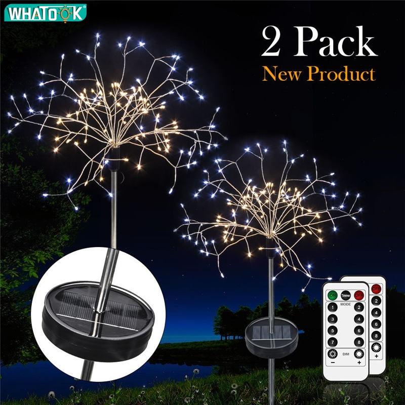 fogos de artificio luz da corda de fadas solares 120 leds a prova d agua lampada