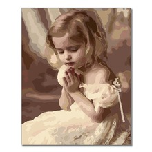 цены Little Angel Girl kiss kid DIY Oil Painting By Numbers Home Decor Canvas Painting Modern Wall Art for living room Acrylic Paint