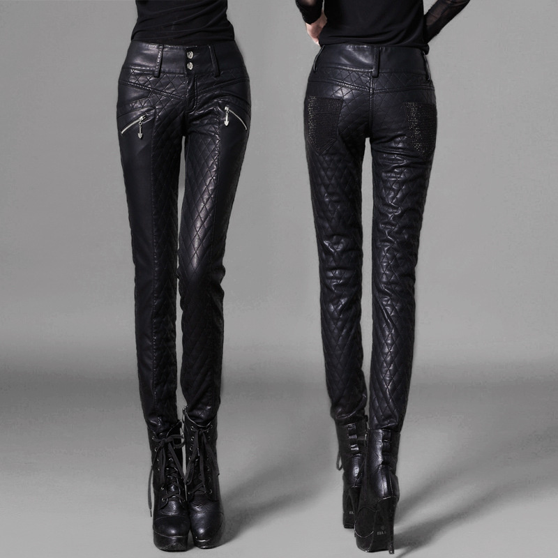 2019 di Modo Delle Donne pantaloni di Pelle moto pantaloni skinny a vita alta matita pantaloni più i pantaloni di ispessimento del cotone Femminile Cantante pantaloni