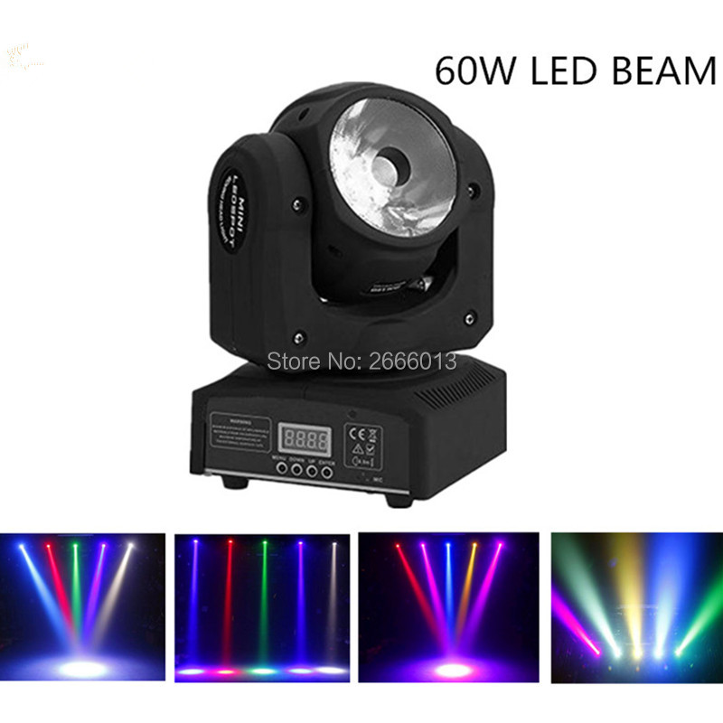 Niugul Led Moving Head Beam 60W Led fast moving DMX 13/15 Channels Stage Lighting DJ BAR Lighting 60W LED Beam wash effect light