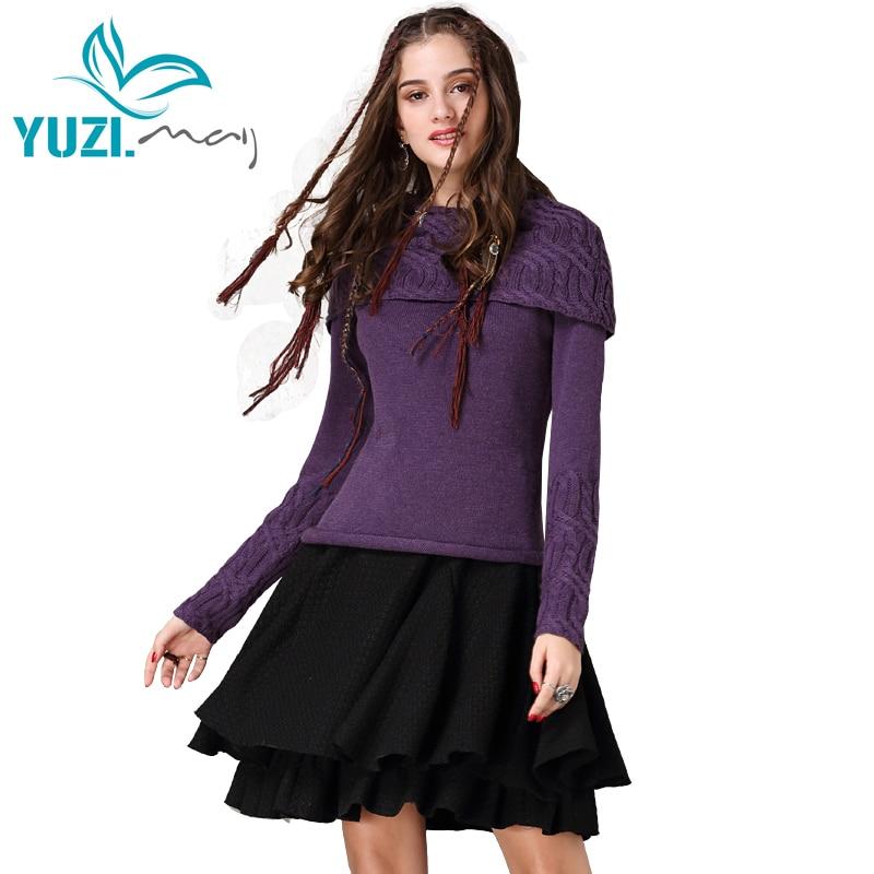 Pullover Women 2017 Yuzi may Boho New Cotton Wool Sweater Long Sleeve Turn down Collar Women
