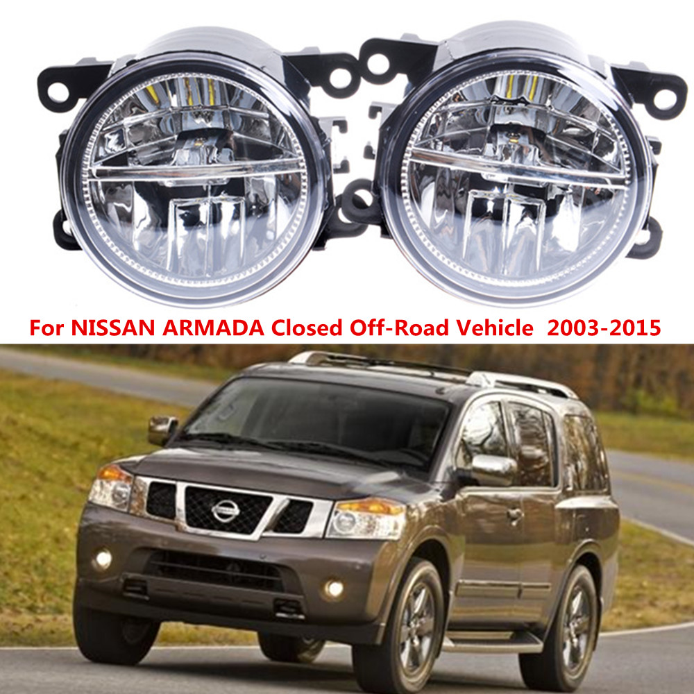 For NISSAN ARMADA Closed Off-Road Vehicle  2003-2008 LED fog lights Car styling drl led daytime running lamps 1SET