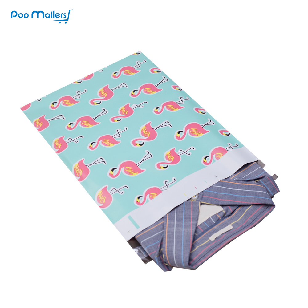 100pcs 25.5*33cm 10*13 Inch Flamingo Pattern Poly Mailers Self Seal Plastic Mailing Envelope Bags/Bags For Packing Shirts