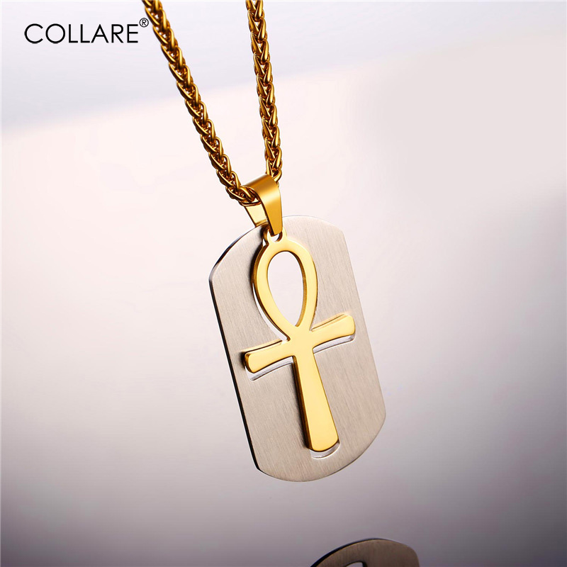 Collare Ankh Ring Men Stainless Steel Gold//Black Color Ankh Egyptian Cross Key o