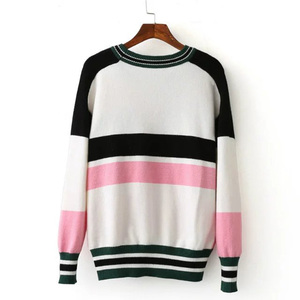 Image 2 - female casual stitching crane flower embroidery sweater
